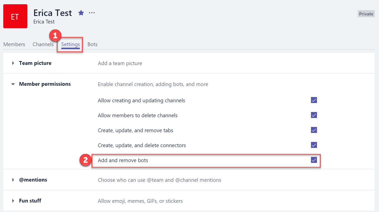 Enable Bots in Microsoft Teams